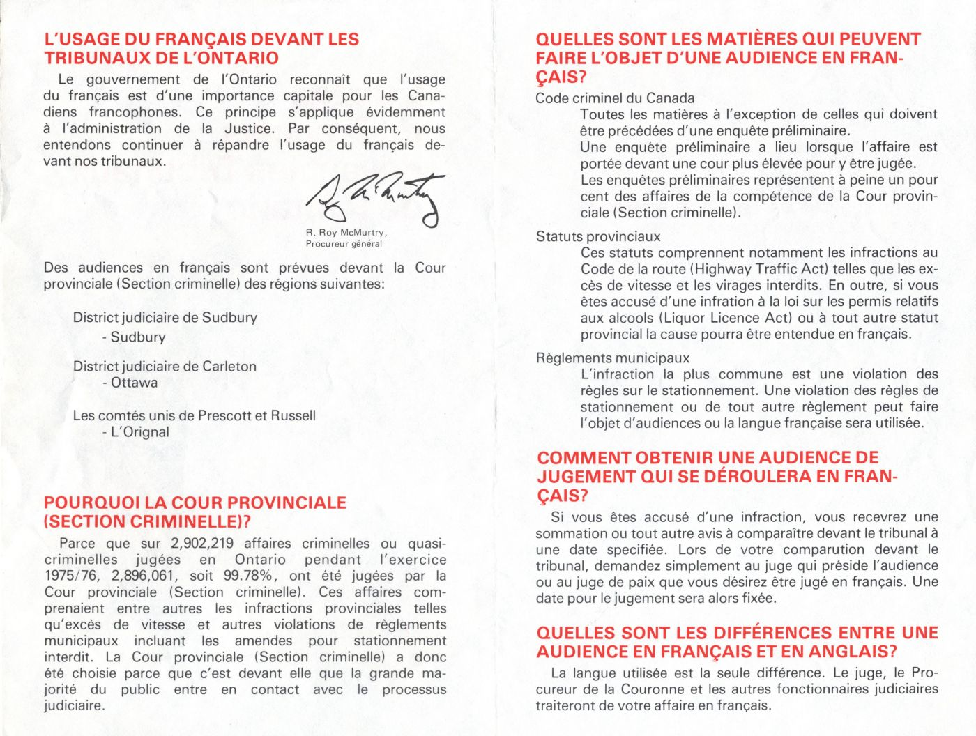 French pamphlet, divided into four parts. On the cover, the title of the document, its source, and a drawing of Justice. On the front, information elements grouped under five headings; on the back, instructions for more information. Alternating between red and black.