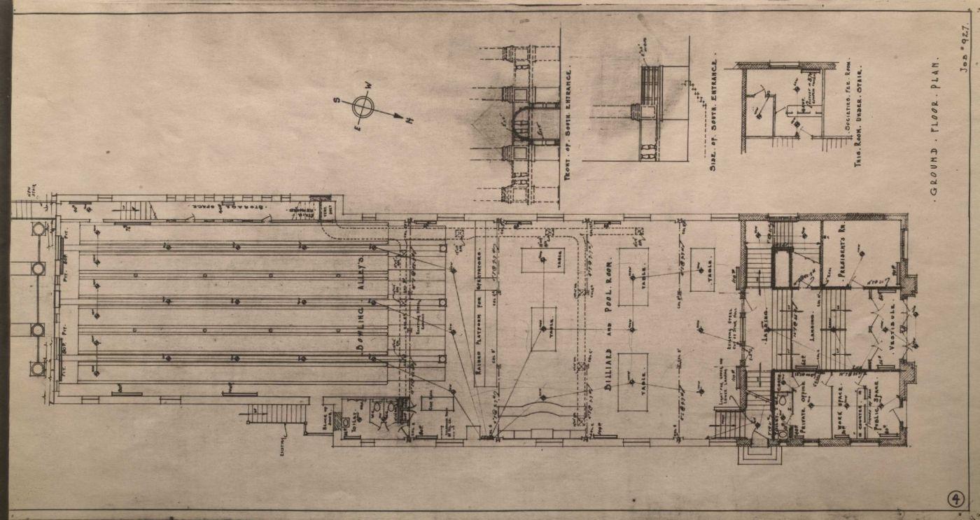 Plans d'architecte en noir et blanc, montrant le fronton d'un édifice institutionnel à trois étages et le plan du sol de chaque étage. Les dimensions et les détails de l'édifice sont inscrits en anglais, en caractères d'imprimerie. Seul le titre est manuscrit.