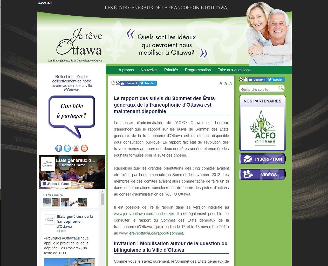 Capture d'une page Web. Page principale d'un site, incluant onglets pour la navigation, informations diverses, photos, outil de recherche et module de rétroaction. Disposition en trois colonnes, sur fond vert, sous une entête reprenant le slogan « Je rêve Ottawa ».