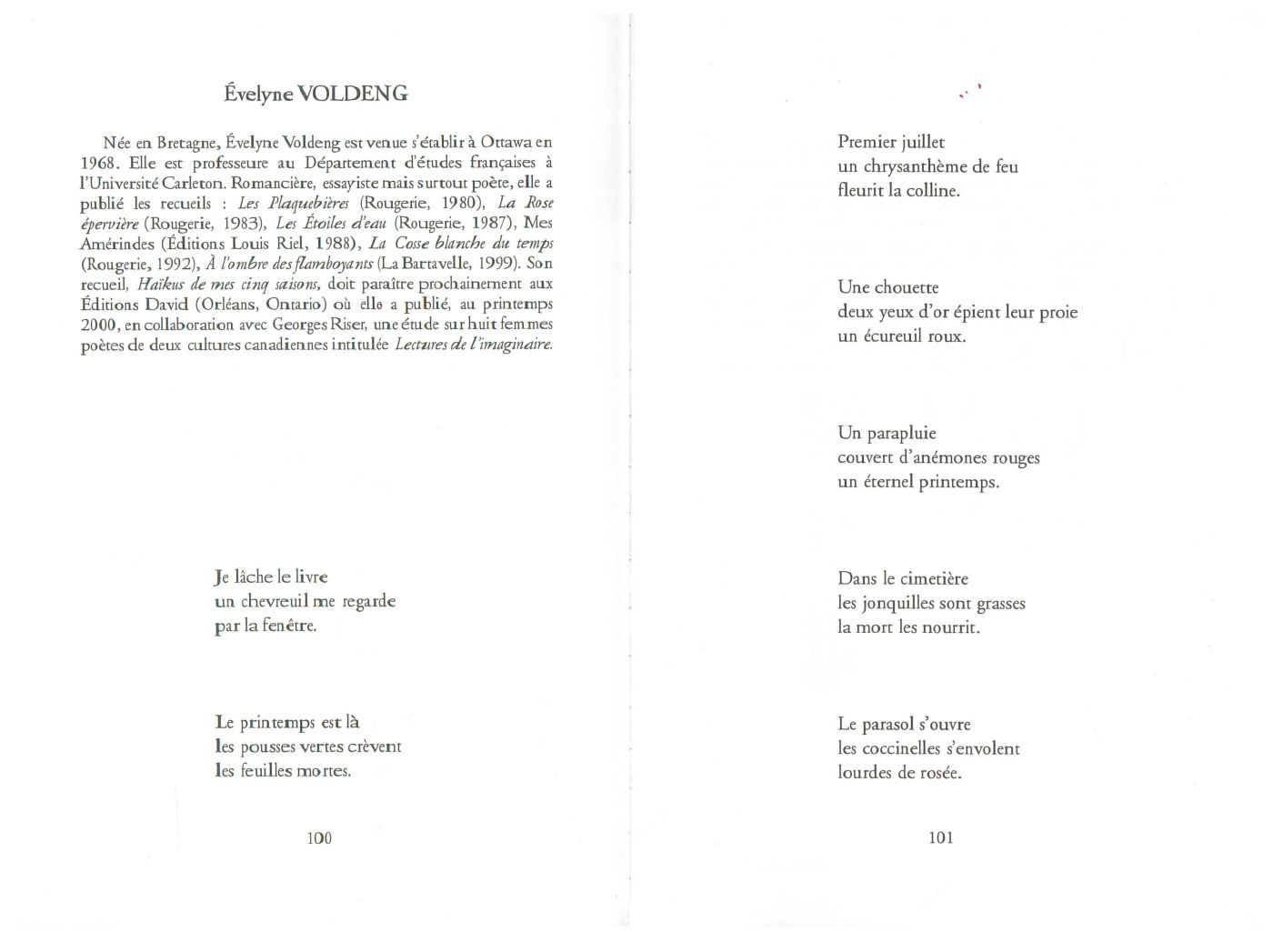 Printed document, in French. The biography of the poet, followed by a series of seven three-line haïku poems