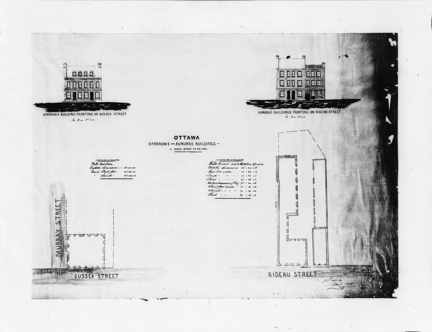 Plans d'architecte en noir et blanc montrant le fronton d'un édifice à trois étages et le plan du sol. Les dimensions de l'édifice sont inscrites à la main en anglais.