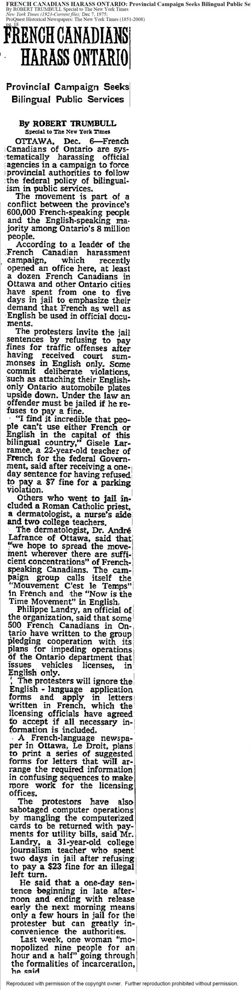Newspaper article written in English, arranged in a long single column. The title appears in uppercase and bold. The article is signed and dated. Typed in small characters above the title of the article, in database style: the title, author name, and source of the article.