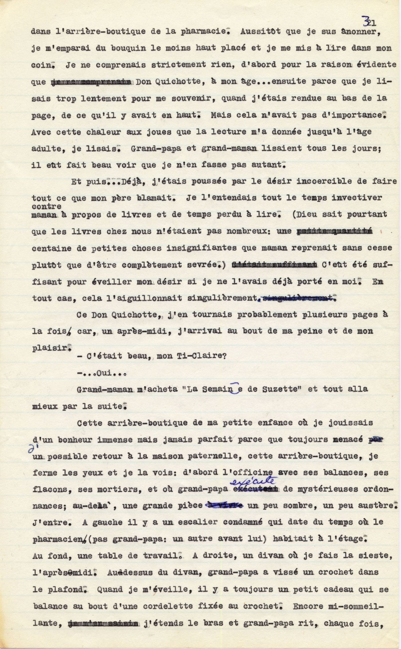 Manuscript typed in French, with handwritten corrections in blue ink. It includes four paragraphs, as well as a short section of dialogue.
