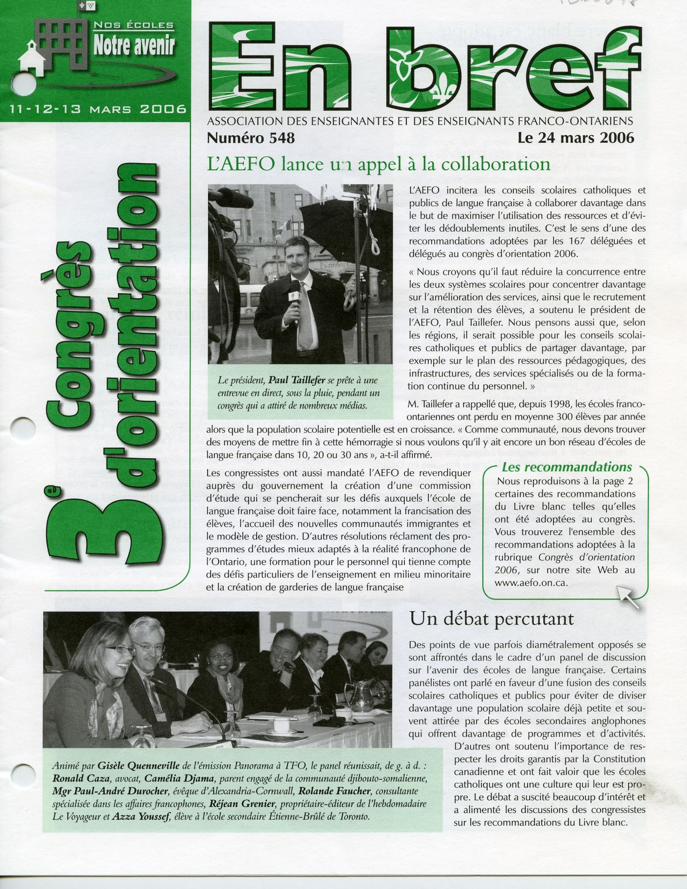 "Colour photograph of the first page of a French newsletter, including text and photos. On the left, oriented vertically in green letters, the main topic of this issue of the newsletter: the ""3e congrès d'orientation"" (3rd orientation assembly). The layout is irregular to capture the reader's attention."