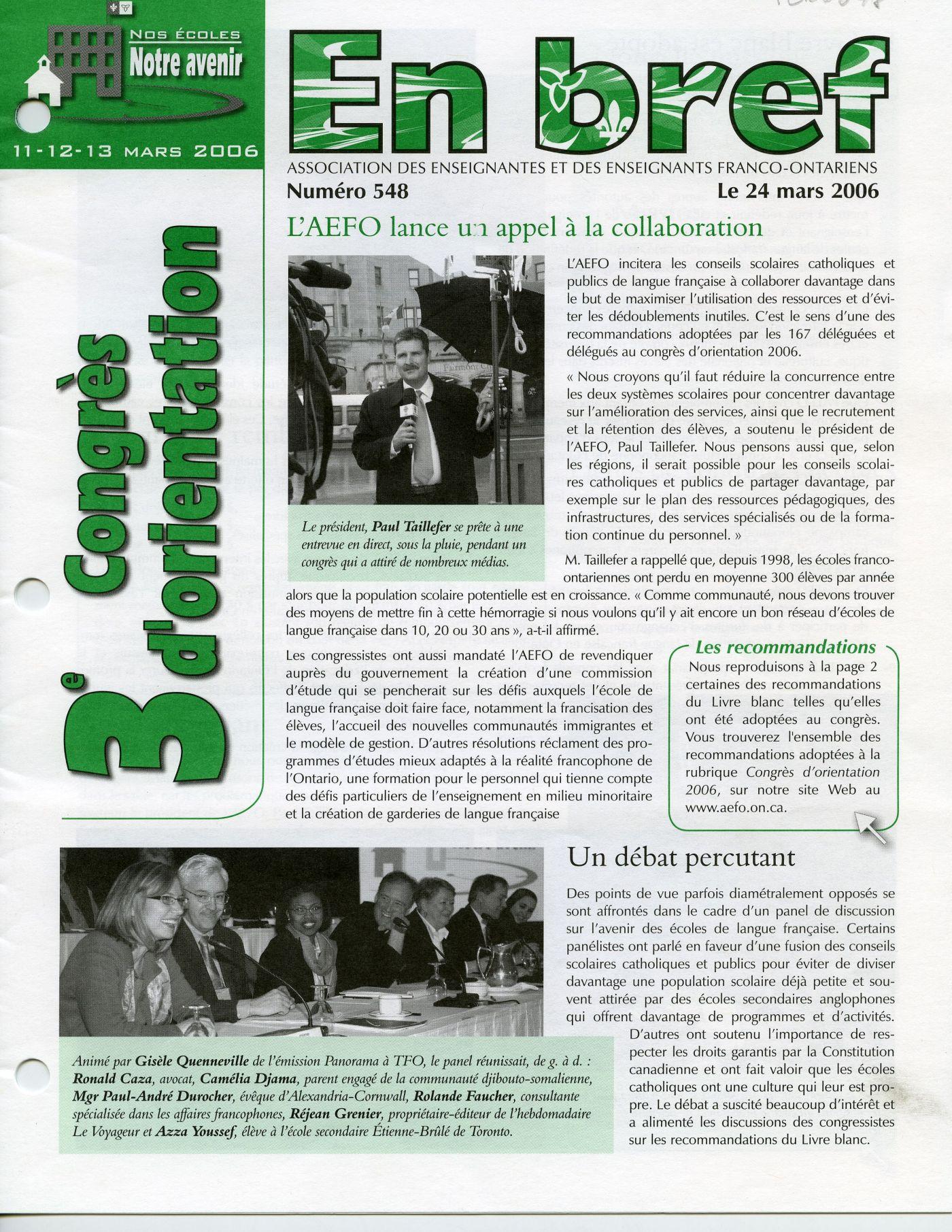 Photographie couleur de la première page d'un bulletin, incluant des textes et des photos. À gauche, à la verticale, l'objet principal du numéro, le « 3e congrès d'orientation », écrit en vert. La disposition est irrégulière pour capter l'attention du lecteur. Le document est imprimé, en français.