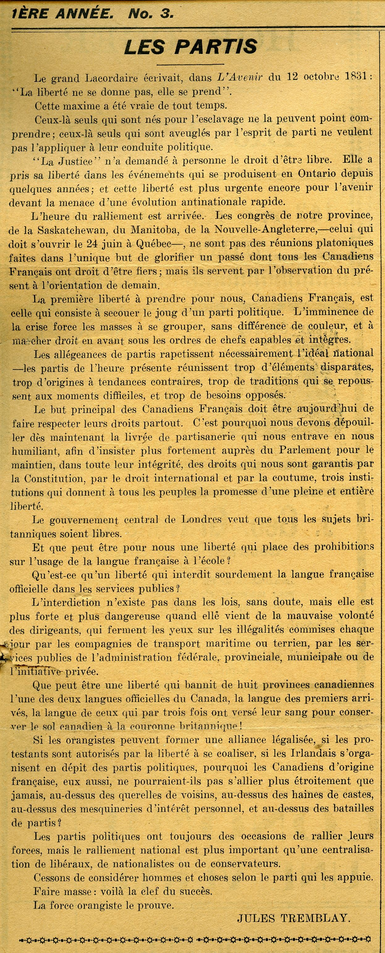 Newspaper article printed in French. The title appears in uppercase and bold, followed by the text, arranged in a single column. The article is signed. The paper is yellowed.