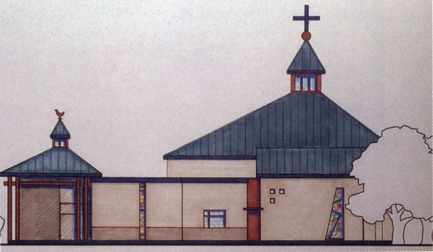 Architectural drawing, in colour, of a church with a blue roof, beige walls, red accents and multicoloured stained glass windows. An enclosed corridor connects the main part of the church, surmounted by a cross, to a smaller secondary section.