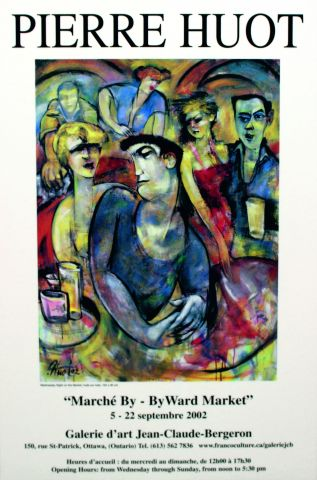 Colour poster, with text printed in French. It contains a reproduction, on a white background, of an abstract painting depicting three men and three women in a dance club. The artist's name appears in large print at the top of the poster. The announcement of the exhibition appears below the image.