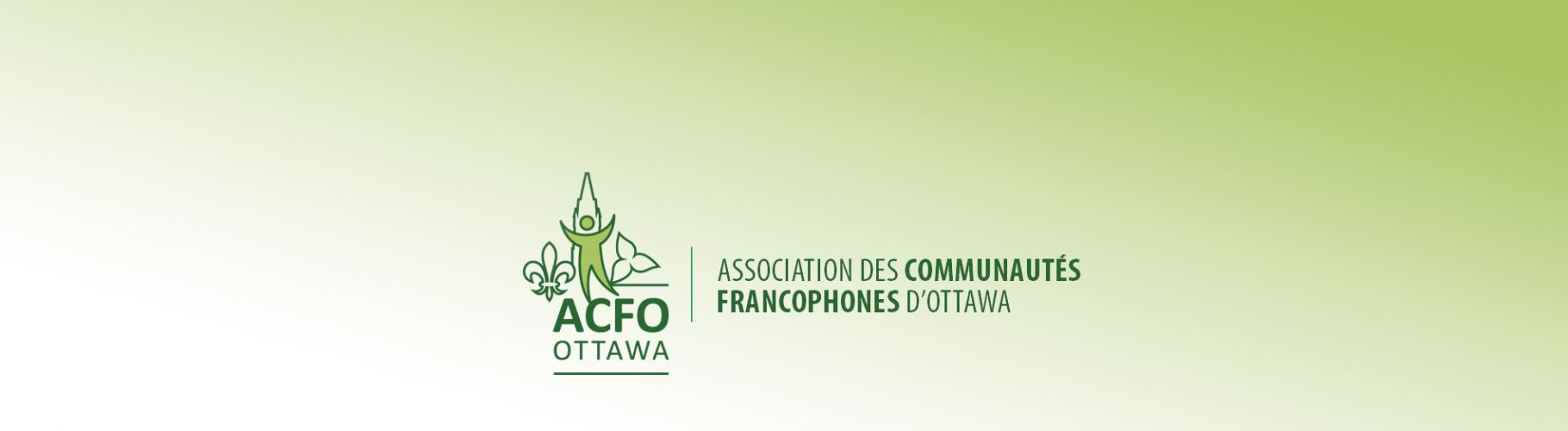 A green illustration which combines the Peace Tower of the Canadian Parliament in the centre, the fleur-de-lis to the left, and the trillium to the right. A bicoloured human figure raises its arms in front of the tower. The acronym ACFO Ottawa appears under the logo, separated by a green horizontal line. The full name of the organisation appears to the right, separated by a vertical line.