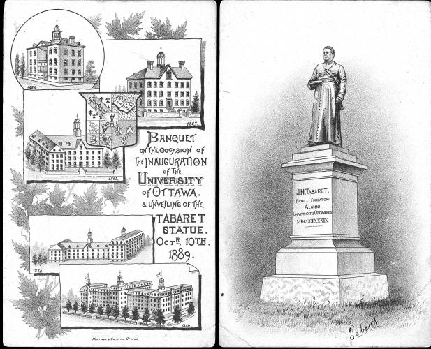 Black and white drawing, with text in English. To the left, tiles representing the evolution of a religious building in five stages. To the right, a statue of a cleric, with an inscription in Latin.