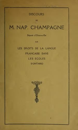 Speech printed in French. Cover page shows the title, along with the drawing of a flowered pedestal.