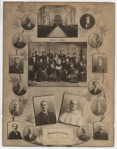 "Photograph of a display board showing an arrangement of fourteen studio photographs of men whose names appear under the round or square frame surrounding each image. In the middle of the board, photographs of a church interior, a group of about fifteen women seated or standing in three rows, as well as a man and a monk. The caption at the bottom reads: ""Members of the Saint-Jean-Baptiste Church choir, Ottawa, October 1898""(translated from the original)."