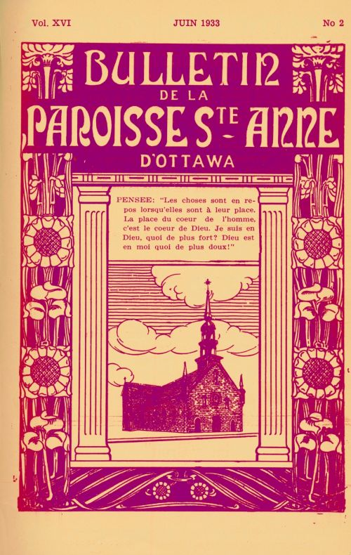 Cover page of a parish bulletin, printed in French in pink and beige. The title of the publication appears in large letters, on a background of stylized flowers. A drawing of a Church is printed in the middle of the page, framed by two colums. Over the drawing, thoughts on the link between God and man. At the top, the number and date of publication.