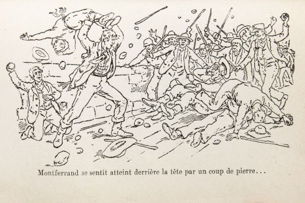 Page from a book with a black and white illustration of a riot. It depicts men brandishing sticks and stones. In the Centre, a tall man swings another man over his head. Behind them, an individual is about to strike the very tall man with a stone. Text typewritten in French.