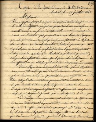 Copie d'une lettre écrite à la main à l'encre noire, en français. L'écriture est soignée, mais la lettre est difficile à lire, car le verso se voit au travers. Le papier est jauni.