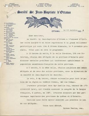 Lettre dactylographiée à l'encre bleue, en français, sur papier à en-tête de la Société Saint-Jean-Baptiste et signée par le secrétaire de la Société. L'en-tête met en vedette le logo de l'organisme et inclut, à la gauche de la page, une liste des membres du conseil d'administration ainsi que des représentants de section.