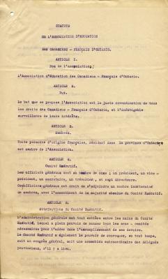 Texte dactylographié à l'encre violette, comportant des corrections manuscrites à l'encre noire. Le document est rédigé en français, selon le format suivant : l'article numéroté en lettres majuscules, son titre sur une autre ligne, puis son libellé.