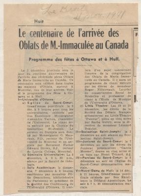 Article de journal imprimé, en français. Le titre et le sous-titre apparaissent en gras. La source et la date de parution sont inscrites à la main, au-dessus du titre. L'article, disposé sur deux colonnes, n'est pas signé.