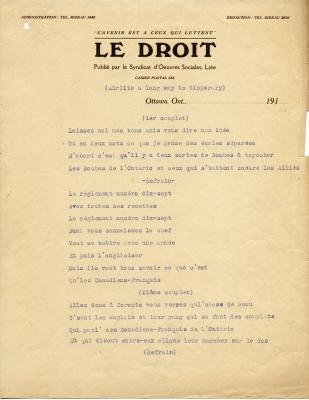 Texte dactylographié en français sur papier à en-tête du journal Le Droit. Les paroles sont écrites à l'encre bleue, tandis que le reste du texte est à l'encre noire.