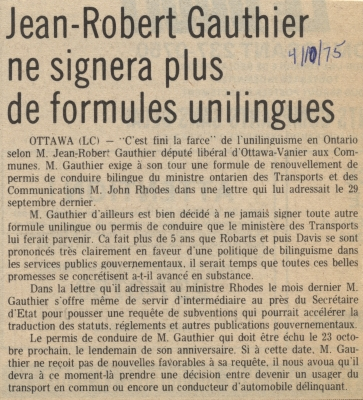 French newspaper article arranged in one column. The title appears in large, bold letters. The date is handwritten in blue ink to the right of the title. The article is not signed.