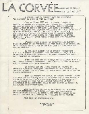 Communiqué de presse imprimé, en français. Le nom de l'organisme apparaît en gros caractères en haut de la page. Le corps du texte est inséré dans un rectangle et est écrit en lettres majuscules. Le nom et le numéro de téléphone de la personne ressource sont indiqués au bas du communiqué.