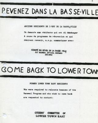 "Bilingual invitation in black and white, handwritten and typewritten, entitled ""Come Back to Lower Town."" Stamp of the Citizens' Committee of Lower Town East."