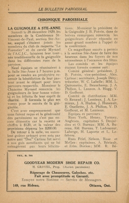 Parish column printed in French. Titles appear in bold capital letters. The page numbers appear at the top of the page. Advertisements for local companies appear at the bottom of each page. The paper is yellowed.