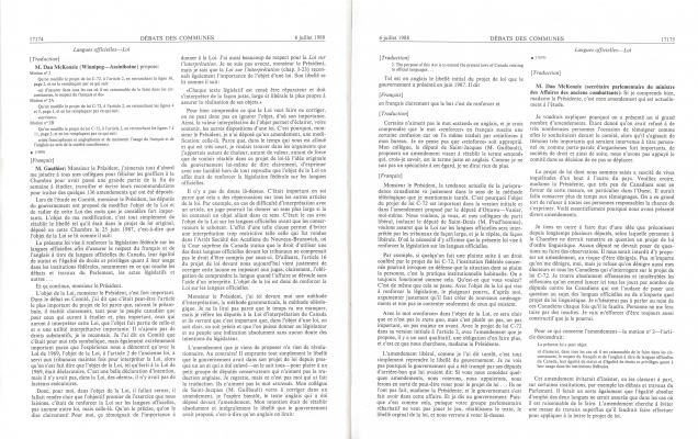Text printed in French, arranged in two columns. with the page number, title and date appearing at the top. The original language of the speech is indicated in brackets. The timing of the intervention is indicated in 5-minute intervals before the text. The name of the speaker appears in bold, with the individual's title, in parentheses, accompanying the first intervention.