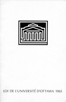 Document imprimé, en français. La page couverture met en vedette le logo de l'Université. Le texte procède par article avec un résumé de l'article dans la marge.