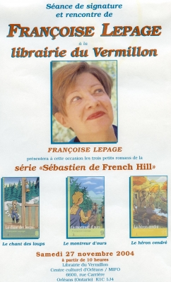 Colour poster, in French. At the top of the poster, the name and photo of a middle-aged woman, three-quarter view, wearing short brown hair. The poster shows the covers of three youth novels, their titles, and the series they are part of. It indicates the date and location of the event.
