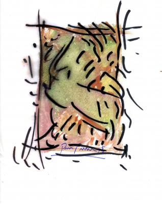 Œuvre d'art abstraite en vert, jaune et rose, marquée de traits noirs, sur fond blanc. Signature et date en bas au centre : « Pierre Pelletier 78 ».