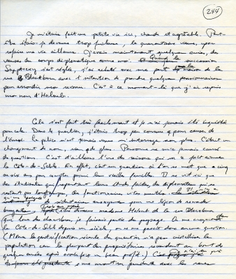 Handwritten French text in black ink on lined paper. Handwritten corrections, as well as the page number, also appear in black.