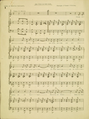 Partition de musique, avec paroles imprimées, en français. Partition en clé de sol pour chanteur et piano.