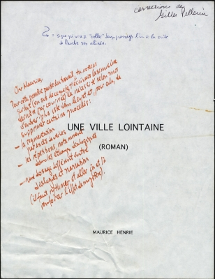 Cover page of a printed document, in French. The title is positioned in the middle of the page, followed by (ROMAN). and the author's name. All letters are capitalized. Annotations are made by hand, in red and blue ink. A note in black indicates that Gilles Pellerin has made the corrections.