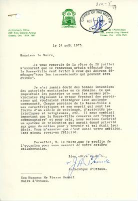 Letter typed on bilingual letterhead from the office of the Archbishop, signed by J.A. Plourde (archbishop). Stamp of reception by the office of the mayor, dated August 27, 1973.