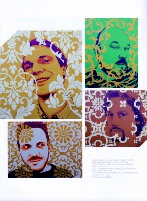 Ouvrage imprimé en français, illustré de photos d'œuvres d'art en couleur. Quatre œuvres montrent différents motifs et traitements de couleur en surimpression sur des photographies d'hommes d'âge moyen. Quatre autres œuvres présentent des taches de peinture rouge en surimpression sur des motifs jaunes et orangés. L'une d'elles intègre la photographie d'un homme, qui se cache le visage. Les textes sont disposés sur deux colonnes.