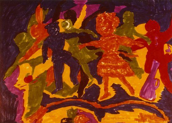 Aquarelle représentant une farandole d'enfants en ocre, fushia, orange et olive sur fond violet. À mi-chemin entre le figuratif et l'abstrait.