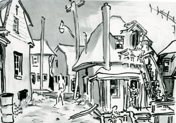 Black and white drawing of a two-storey house with an external staircase leading to the first floor. Sketched figures stand at the top of the stairs, in the doorway of the house, and in the laneway next to the house. A child is riding a bicycle in front of the house.