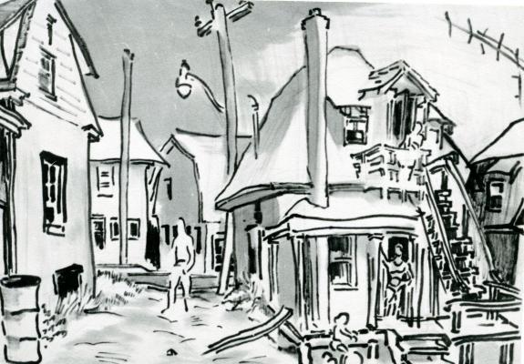 Dessin en noir et blanc représentant un quartier résidentiel. Au centre de l'œuvre, une maison à deux étages avec un escalier extérieur qui rejoint le premier étage. Des personnages esquissés se tiennent en haut de l'escalier, sur le seuil de la maison et dans la ruelle à côté de la maison. Un enfant passe à bicyclette devant la maison.