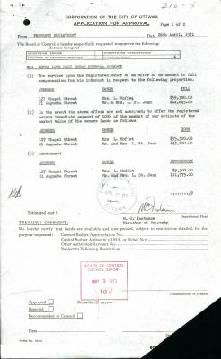 Typed form mentioning the price of assessment, the market price and the slightly higher price to be offered to the owners. It bears two stamps of approval from the Ottawa Board of Control, and the signature of Mr. C. Instance, Director of Real Estate.