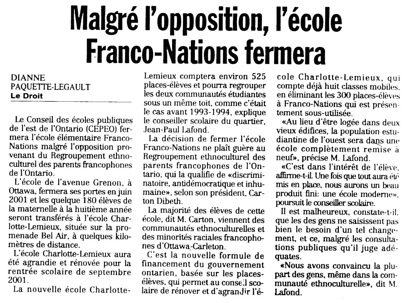 French newspaper article. The title appears in bold at the top of the page. The article is printed in three columns. It is signed.