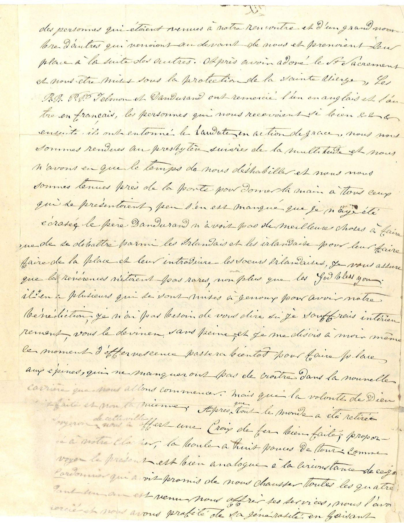 Lettres manuscrites, en français. Le tampon des Archives des Sœurs Grises de Montréal figure aux pages 1 et 3 ; le document est numéroté. La première lettre est signée par sœur Bruyère à la page 2; la deuxième lettre n'est pas signée. La page 6 inclut l'enveloppe de la lettre avec le cachet de la poste et la date de réception.
