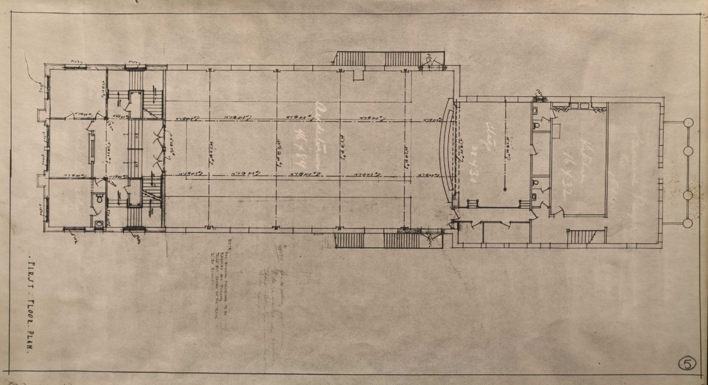 Black and white architectural drawings showing the pediment of a three-storey institutional building, and the floor plan of each floor. The dimensions and details of the building are printed in English. Only the title is handwritten.