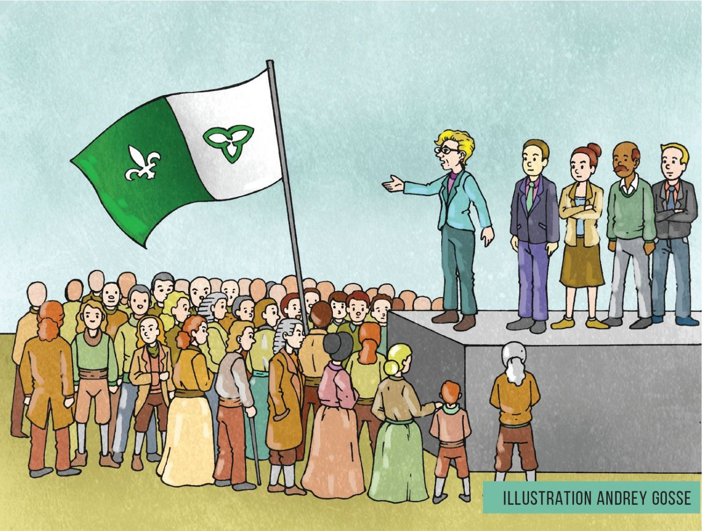 Computer-generated colour drawing of a crowd waving a large Franco-Ontarian flag. Standing on a stage, a blonde speaker in a suit addresses the crowd. She is accompanied by two white men, a black man and a white woman.