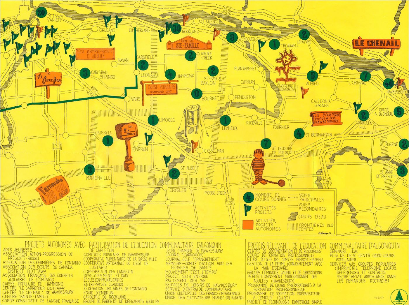 """"""" A schematic map in French. Fine black lines on a yellow background represent the road network and the main communities in eastern Ontario, including Ottawa. Coloured symbols mark the sites of intervention by the """"éducation communautaire d'Algonquin"""" program. A detailed list of projects appears at the bottom of the map."""""""