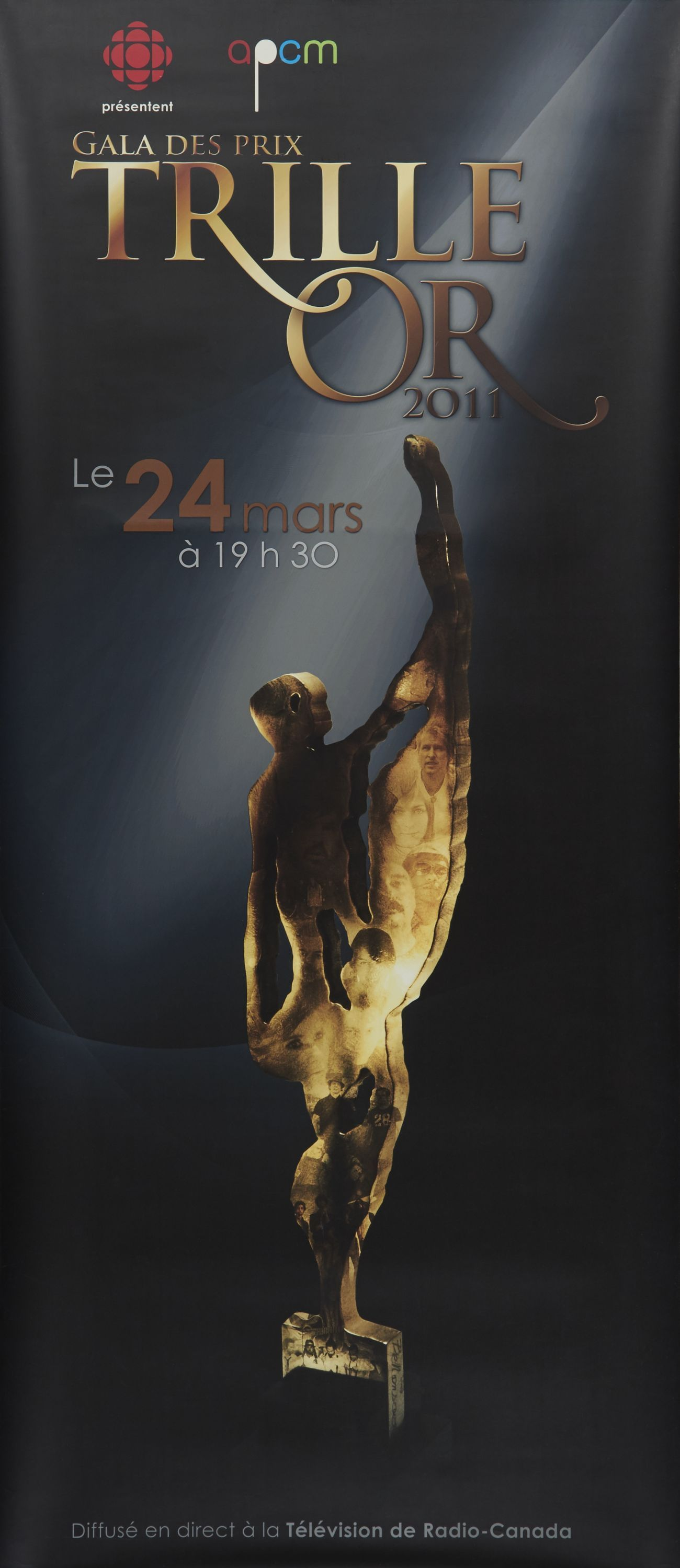 Rectangular poster in French.  On a black background, the drawing of a gold statuette under a projector. At the top of the poster, in gilded characters , the logos of the sponsoring organizations, and the name and date of the event. At the bottom, information about the televised broadcast.