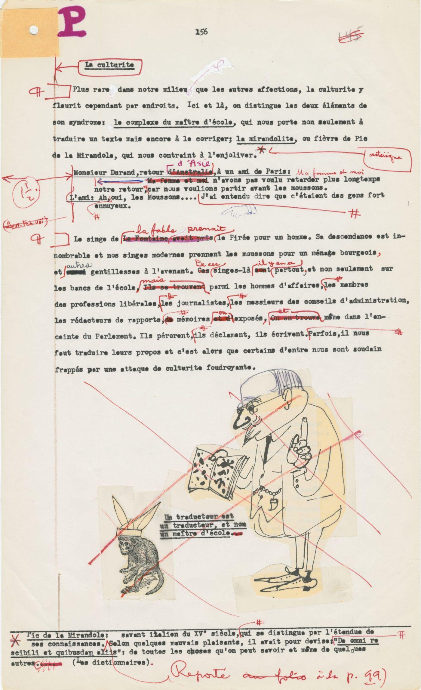 Texte dactylographié en français comportant des corrections à l'encre rouge. Une caricature au bas de la page a été rayée. Une correction indique que la note en bas de page prévue a été reportée à la page 99.