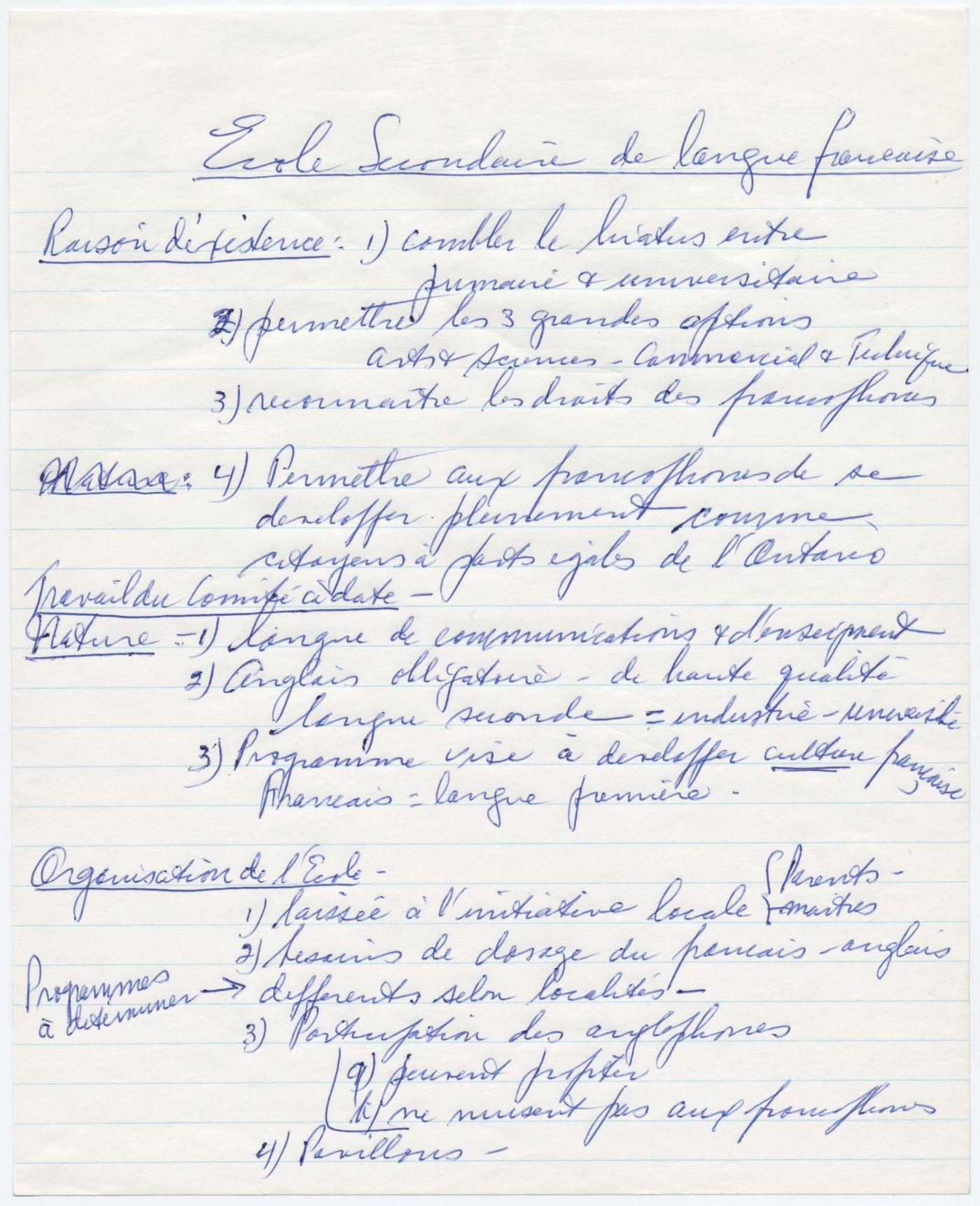 Texte manuscrit à l'encre bleue, en français. Une liste numérotée de recommandations, sous trois rubriques: raison d'existence, nature et organisation de l'école. Ratures et ajouts.