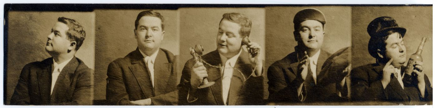 Series of five sepia photographs depicting a chubby-faced, middle-aged man in suit and tie striking a different pose in each image. In three photographs, he poses with accessories.