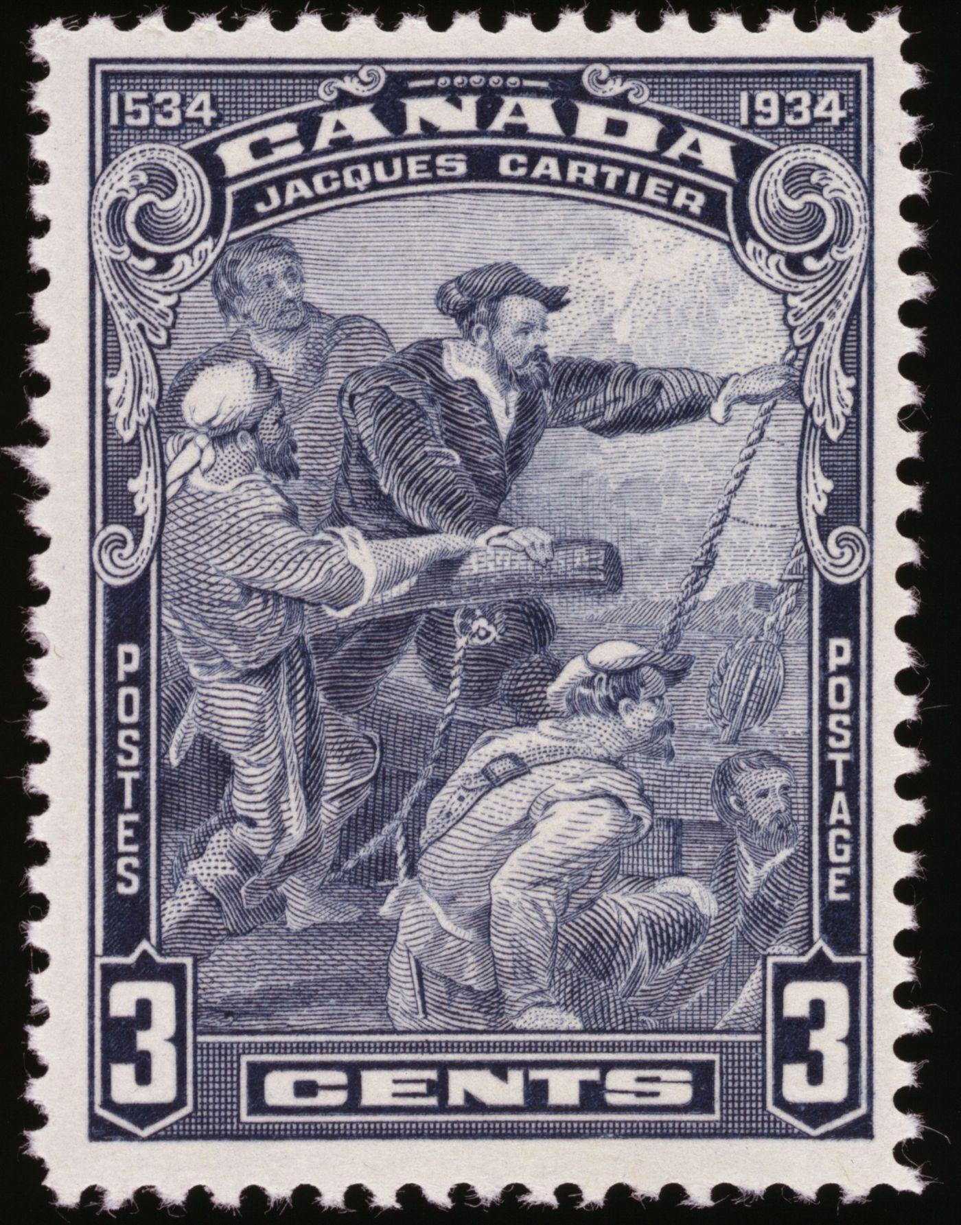 Photographie en couleur d'un timbre-poste canadien, d'une valeur de 3 cents. Cinq marins s'activent sur le pont d'un navire, regardant à l'horizon. Celui dont la coiffure traduit un rang plus élevé, a la main sur le gouvernail. Le texte est dactylographié en français et en anglais.
